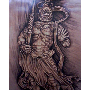 革彫刻画「金剛力士」 - leather carving picture kongourikishi